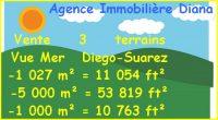 Vue Mer Diego-Suarez Vente 3 terrains